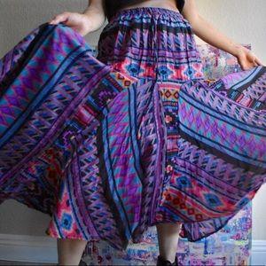 Vintage 80s tribal print skirt adjustable waist